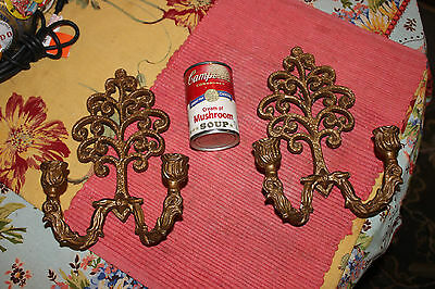 Vintage Victorian Style Wall Mounted Candelabra Candlestick Holders-Lovely Pair