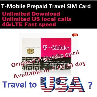 Travel to USA? 7 days Prepaid T-Mobile 4G sim UNLIMITED Download data Local call