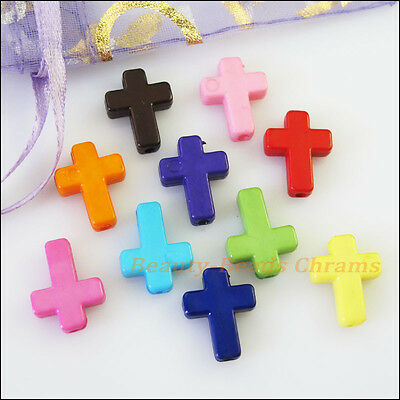 40Pcs Mixed Acrylic Plastic Cross Spacer Beads Charms 12x16mm