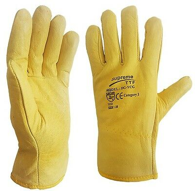 10 Pairs Fleece Cotton Lined Leather Lorry Drivers Work Gloves DIY Quality
