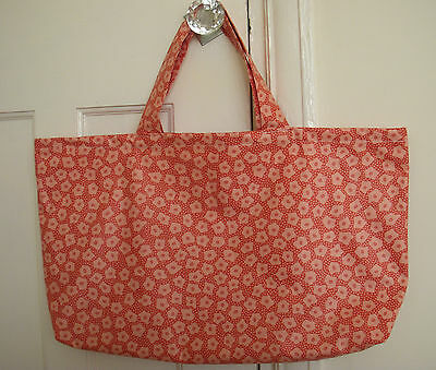 Fabric Peach Knitting Bag Lined Crochet Sewing Shopping Craft Gift Storage