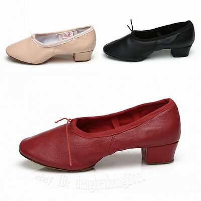 Free Shipping Unisex Leather Teacher Practice Ballet Dance Shoes heeled Salsa