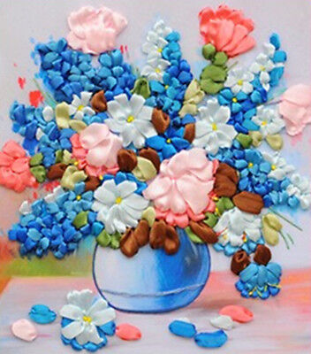 3D Ribbon Embroidery Kit 40*50CM Luxury Multicolour Beautiful Blue Flower Gift