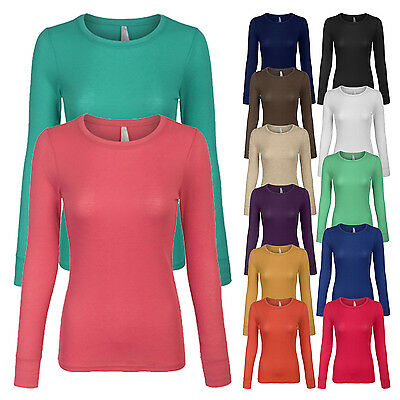 Women's Basic Lightweight Thermal Long Sleeve Crew Neck T-Shirt with Stretch SML