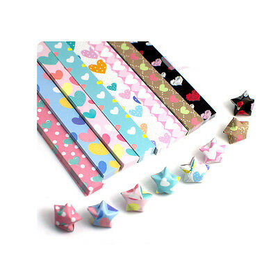 50 pieces ORIGAMI LUCKY STAR PAPER  - with heart pattern, pick up 5 color