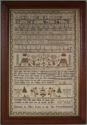 Antique Sampler, 1763, by Mary Ryley