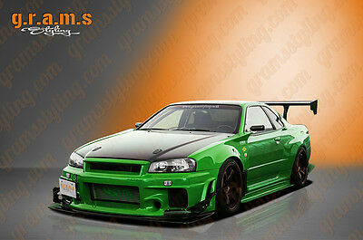 Nissan Skyline R34 GTR Style Rear Fenders +50mm for Wide Body Conversion v4