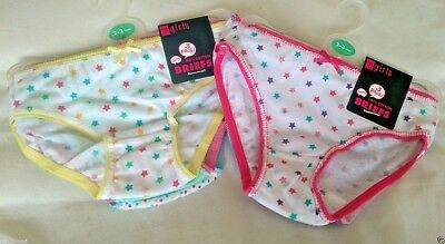 Girls 100% Cotton Pink Yellow Stars Multi (3) Pack & Colour Briefs Age 2-8 Years