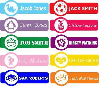 Personalised Shaped Stick On Stickers Name Labels for School Kids Shoes, Bottles
