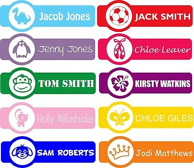 Personalised Shaped Iron On Name Labels for School Kids Clothing , PE Kit