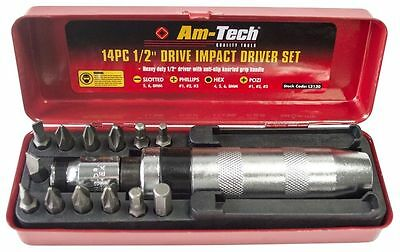 """14 Pc 1/2"""" Drive Hand Impact Driver Set Pozi Slotted Phillips With Metal Case"""