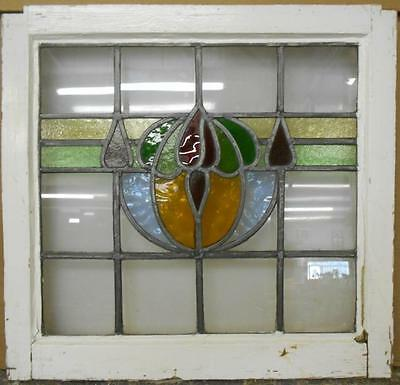 "MID SIZED OLD ENGLISH LEADED STAINED GLASS WINDOW Beautiful Floral 22"" x 20.75"""