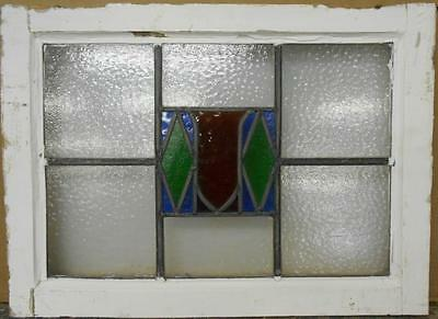 "MID SIZED OLD ENGLISH LEADED STAINED GLASS WINDOW Nice Shield 22.75"" x 16.75"""