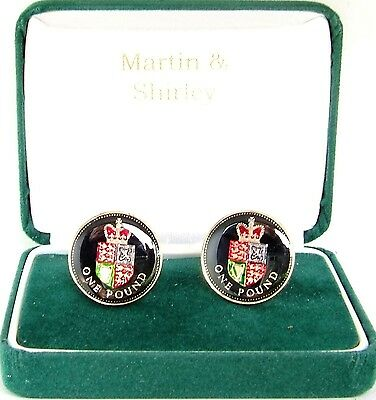 Scarce UK  £1 Cufflinks made from MINT real coins in Black,Gold & Colours