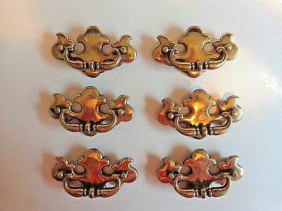 Vintage Chippendale Drawer Pulls Lot of 6 Brass Bat Wing B-631-0 Hole Width 3.5""