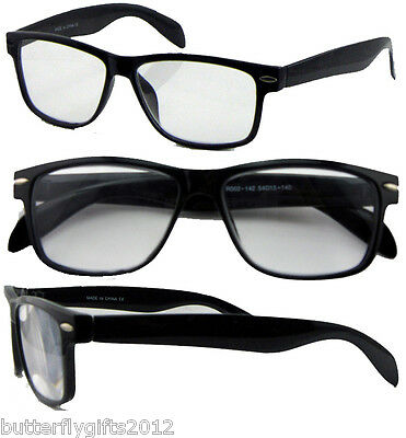Black Wayfarer Style Reading Glasses Retro Vintage Mens Womens Unisex