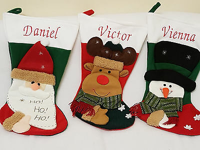 Personalised embroidered Christmas Stocking sack Xmas Santa Snowman Rudolph Gift