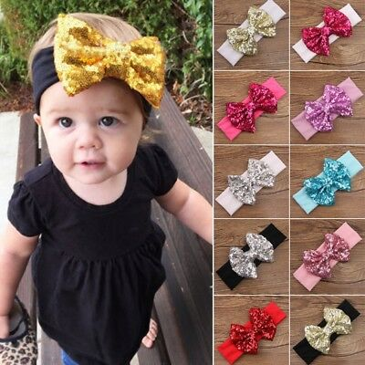 UK Girls Kids Sequin Bow Hairband Headband Stretch Turban Knot Head Wrap