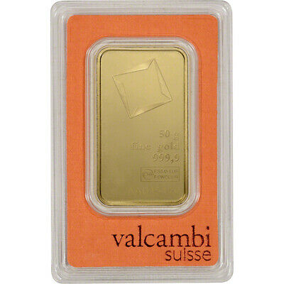 50 gram Gold Bar - Valcambi Suisse - 999.9 Fine in Sealed Assay