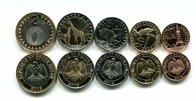 South Sudan 10 20 50 Piasters 1 2 Pounds 2015 Unc Coin Set Of 5