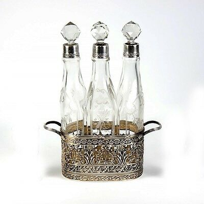 RARE Antique French Sterling Silver & 18k Gold Vermeil Decanter Liqueur Set