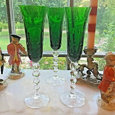 3 as-is St Louis France Crystal Bubbles Green Champagne Flute Very Tiny Flicks