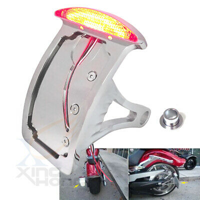Chromed Curve License Plate Led Tail Brake Light Fit For Side Mounted Verticle