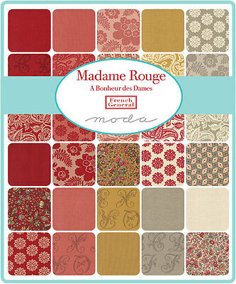 Patchwork/quilting Fabric Moda Charm Squares/packs - Madame Rouge