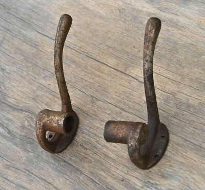 VINTAGE Pair Iron Coat HOOK Hat Clothes Robe Towel Hanger customise with any ROD