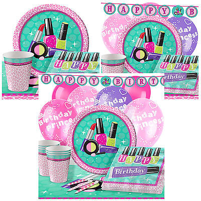 Sparkling Spa Complete Birthday Party Pack Tableware Kits - For 8 or 16 Guests