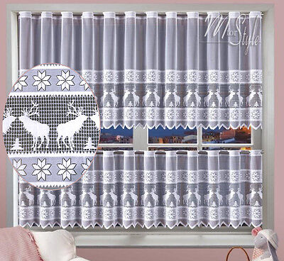 "Cafe Net Curtain Christmas Reindeer Pattern 20"" and 32"" Drop SOLD BY THE METRE"