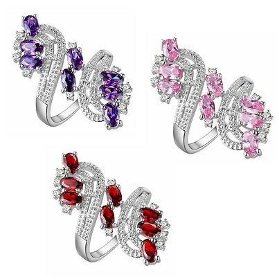 New Women Fashion Jewelry Silver 18K Gold Plated Filled Plum Flower Wedding Ring