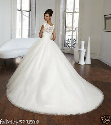 2016 White/Ivory Train Wedding Dress Bridal Gown Stock Size 4-6-8-10-12-14-16+