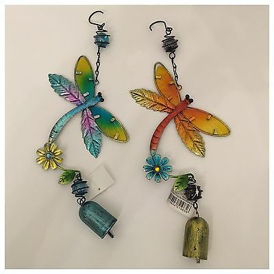 Set Of 2 Dragonfly Bell Mobile Glass Metal Wind Chime Garden Charm Hanging