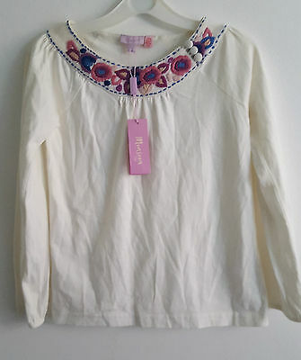 BNWT Monsoon blouse cream with colours embroidery flowers size 6-8yrs 122cm
