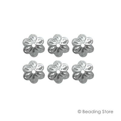 6, 50 or 250 925 Sterling Silver Bead Caps 8mm Flower Cap 1.3mm Hole Findings