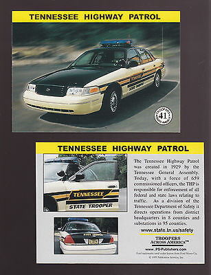 TENNESSEE STATE POLICE TROOPERS Ford Squad Car Highway Patrol 1999 TRADING CARD