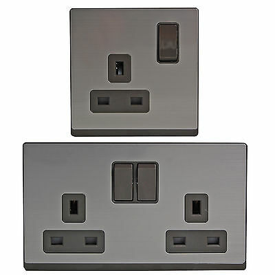 Double Twin / Single Socket plug Stainless Steel brushed 2 / 1 gang 13 amp grey