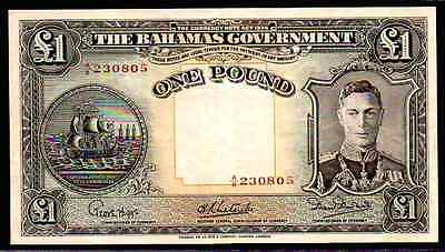 "BAHAMAS P11e ""KING GEORGE VIth"" 1936ND 1 POUND RAW VERY FINE!"