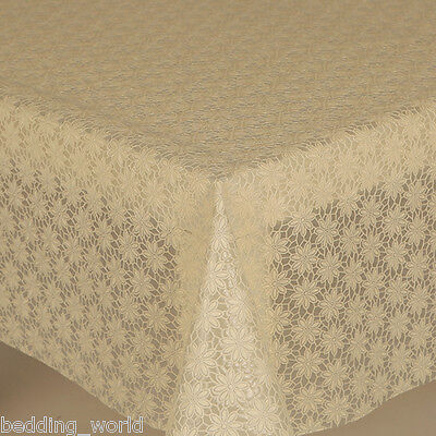 Pvc Table Cloth Daisy Cream Lace Traditional Floral Flower Wipe Able Protector