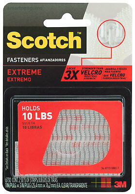 "3M Scotch Extreme Fasteners Holds Up To 10lbs Indoor Outdoor 1"" x 3"" Clear"