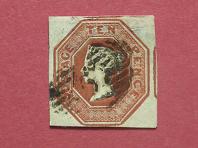 Lot #2920 Victoria 1847 10d Red Embossed 4 Margins, 4th Close, Used SG57