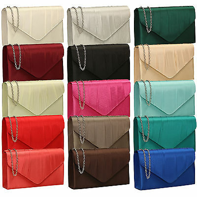 New Women Pleated Satin Envelope Clutch Bridal Party Prom Ladies Evening Bags UK