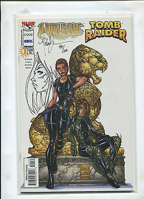 Witchblade Tomb Raider #1 Dynamic Forces Michael Turner Original Sketch Cover