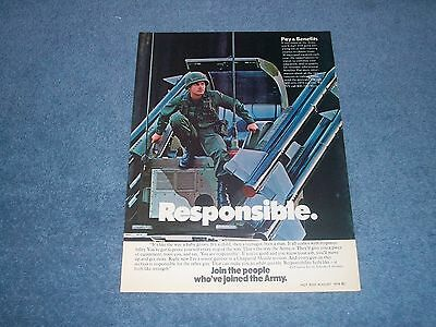 "1978 United States Army Vintage Recruitment Ad ""Responsible"""