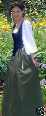Renaissance Peasant Wench Cotton Bodice Skirt Dress Costume BLUE/GREEN all sizes