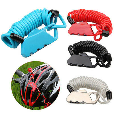 Cycling Security Cable 3-digit Combination Password Bike Bicycle Helmet Lock New