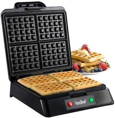 Belgian Waffle Maker Non Stick Stainless Steel Cook Machine 4 Waffles At Once