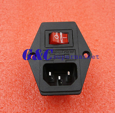 2PCS Black Red AC 250V 10A 3 Terminal Power Socket with Fuse Holder