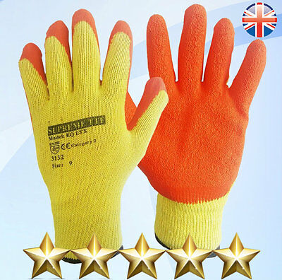 24Pairs Latex Coated Orange Rubber Safety Work Gloves Builders Gardening Grip